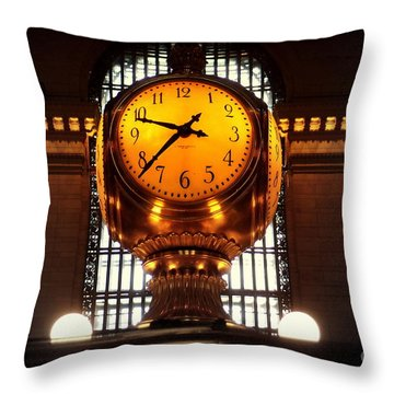 Grand Old Clock At Grand Central Station - Front Throw Pillow by Miriam Danar