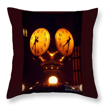Grand Old Clock - Grand Central Station New York Throw Pillow by Miriam Danar