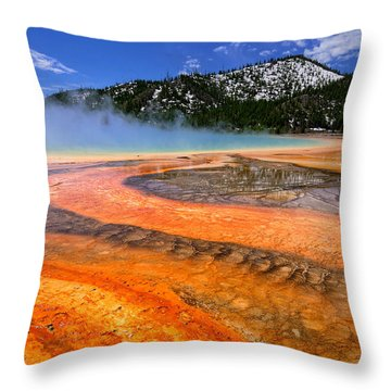 Grand Prismatic Spring Boardwalk View Throw Pillow