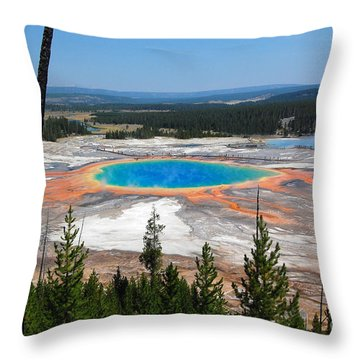 Grand Prismatic Spring From Hillside Throw Pillow by Debra Thompson