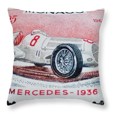 Grand Prix De Monaco 1936 Vintage Postage Stamp Print Throw Pillow