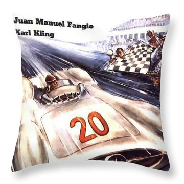 Grand Prix F1 Reims France 1954  Throw Pillow