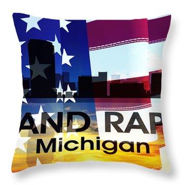 Grand Rapids Mi Patriotic Large Cityscape Throw Pillow