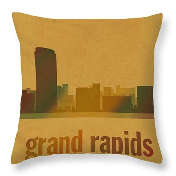 Grand Rapids Michigan City Skyline Watercolor On Parchment Throw Pillow