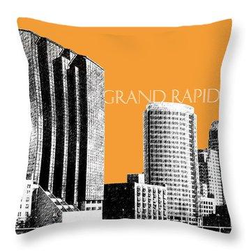 Grand Rapids Skyline - Orange Throw Pillow by DB Artist