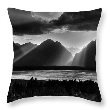 Grand Teton Light Beams Throw Pillow