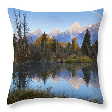 Throw Pillow featuring the photograph Grand Teton Morning Reflection by Sonya Lang