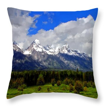 Grand Teton Mountains Throw Pillow by Bruce Nutting