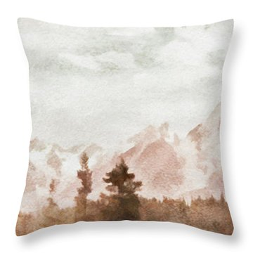 Grand Teton Mountains Throw Pillow by Greg Collins