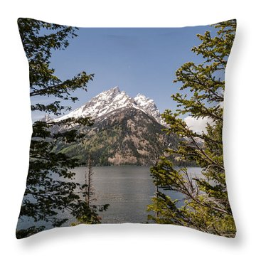 Grand Teton On Jenny Lake - Grand Teton National Park Wyoming Throw Pillow