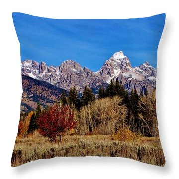 Throw Pillow featuring the photograph Grand Teton Panorama by Benjamin Yeager