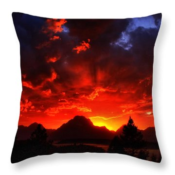 Grand Teton Sunset Throw Pillow by Aidan Moran