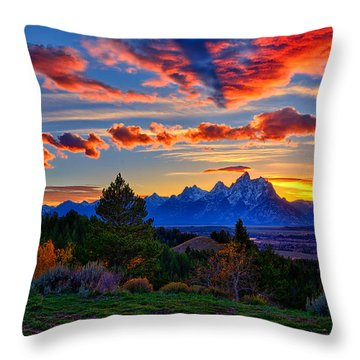 Grand Teton Sunset Throw Pillow by Greg Norrell