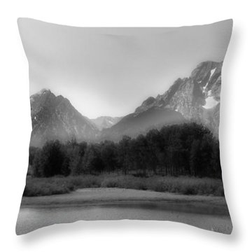 Throw Pillow featuring the photograph Grand Tetons Bw by Ron White