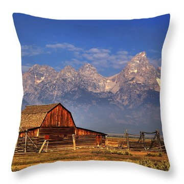 Grand Tetons From Moulton Barn Throw Pillow
