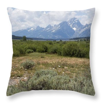 Grand Tetons From Willow Flats Throw Pillow by Belinda Greb