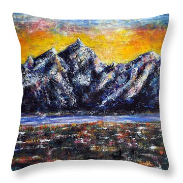 Throw Pillow featuring the painting Grand Tetons by Jennifer Godshalk