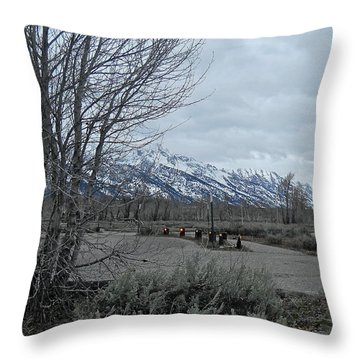 Grand Tetons Landscape Throw Pillow by Michele Myers