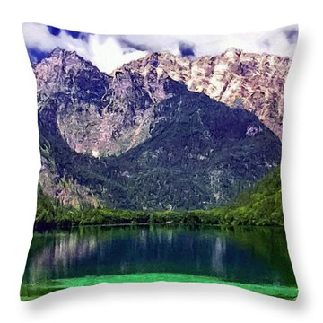Grand Tetons National Park Painting Throw Pillow by Bob and Nadine Johnston