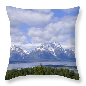 Grand Tetons Over Jackson Lake Panorama 2 Throw Pillow