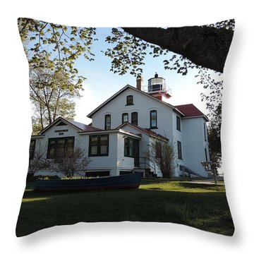 Grand Traverse Lighthouse Throw Pillow by Keith Stokes