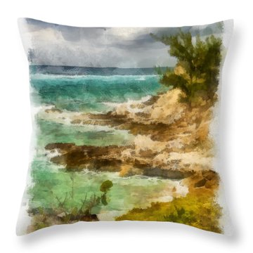 Grand Turk North Shore Vertical Throw Pillow by Michael Flood