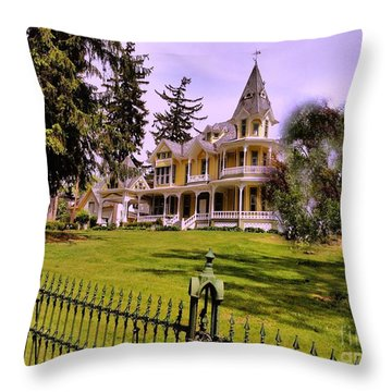 Throw Pillow featuring the photograph Grand Yellow Victorian And Gate by Becky Lupe