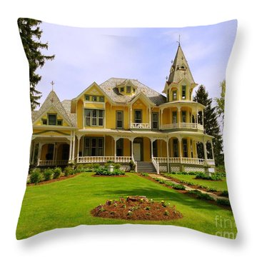 Throw Pillow featuring the photograph Grand Yellow Victorian by Becky Lupe