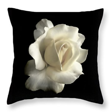 Grandeur Ivory Rose Flower Throw Pillow