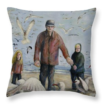 Grandfather Brother And Sister Throw Pillow