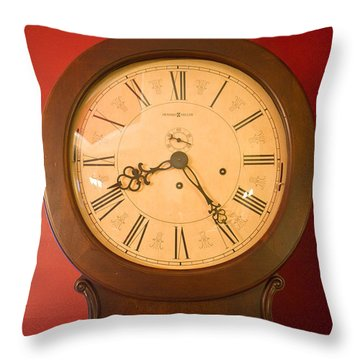Grandfather Clock Top 1 Throw Pillow by Douglas Barnett