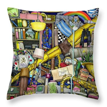 Grandfather's Chest Throw Pillow by Colin Thompson