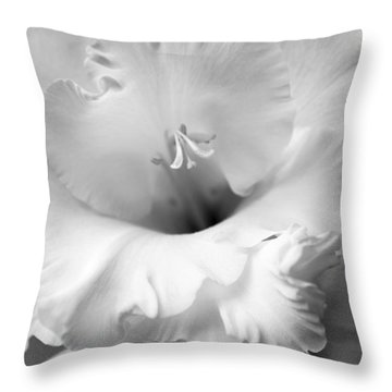 Grandiose Gladiola Flower Monochrome  Throw Pillow by Jennie Marie Schell