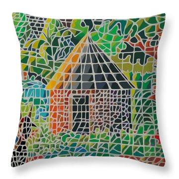 Grandma's House Throw Pillow by Anthony Mwangi