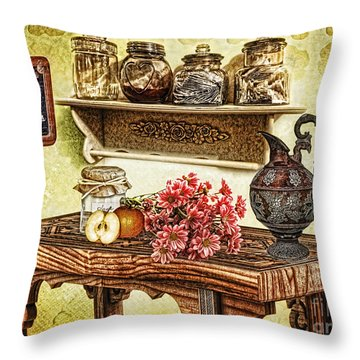 Grandma's Kitchen Throw Pillow by Mo T