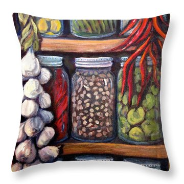 Grandma's Pantry Throw Pillow by Gretchen Allen