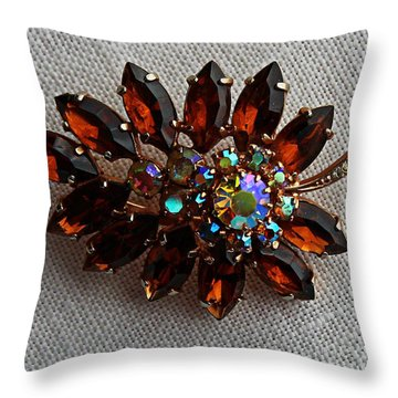 Grandmas Topaz Brooch - Treasured Heirloom Throw Pillow by Barbara Griffin