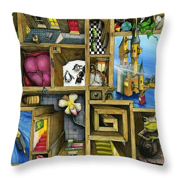Grandma's Treasure Throw Pillow by Colin Thompson