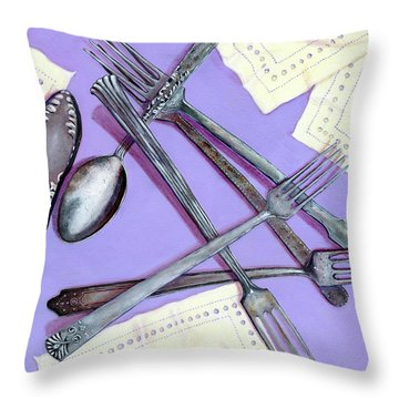 Grandmother's Silver Throw Pillow by Karyn Robinson