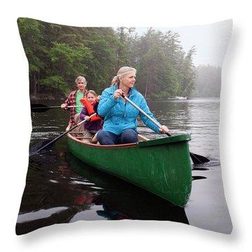 Grandparents And Grandchildren Canoeing Throw Pillow