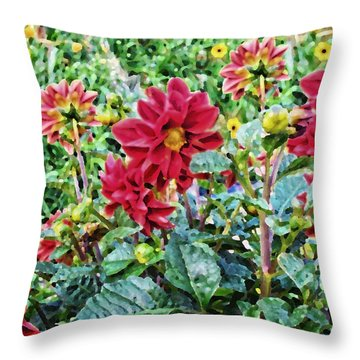Grandpa's Dahlias Throw Pillow by Thomas Woolworth