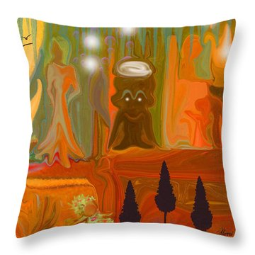 Throw Pillow featuring the painting Grandpas House For His Little Peeps by Sherri  Of Palm Springs