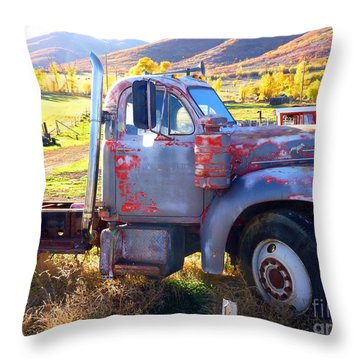 Throw Pillow featuring the photograph Grandpa's Mack Truck by Jackie Carpenter