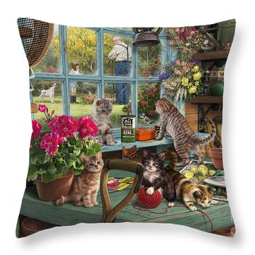 Grandpa's Potting Shed Throw Pillow