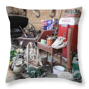 Grandpop's Garage Throw Pillow by Judith Morris