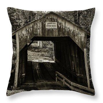 Grange City Covered Bridge - Sepia Throw Pillow