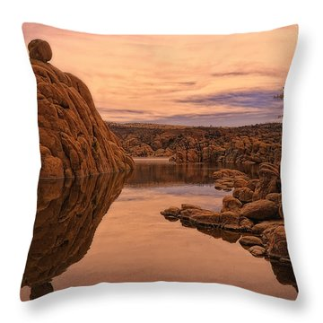 Throw Pillow featuring the photograph Granite Dells by Priscilla Burgers
