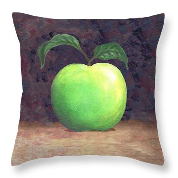 Granny Smith Apple Two Throw Pillow by Linda Mears