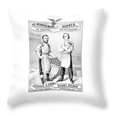 Grant And Wilson 1872 Election Poster  Throw Pillow by War Is Hell Store