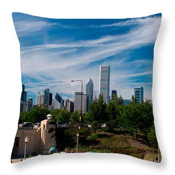 Grant Park Chicago Skyline Panoramic Throw Pillow